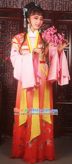Traditional Chinese Peking Opera Peri Princess Costumes Ancient Palace Lady Embroidered Red Dress for Adults