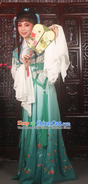 Traditional Chinese Peking Opera Peri Costumes Ancient Palace Princess Embroidered Green Dress for Adults