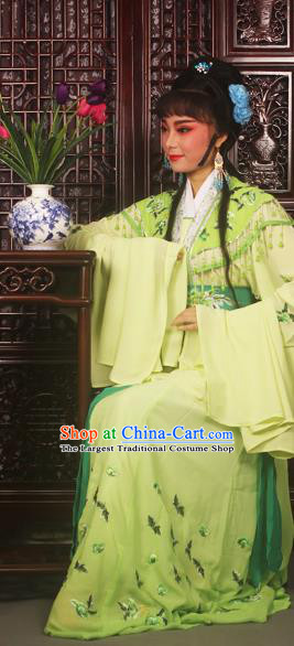 Traditional Chinese Peking Opera Peri Princess Costumes Ancient Palace Lady Embroidered Green Dress for Adults