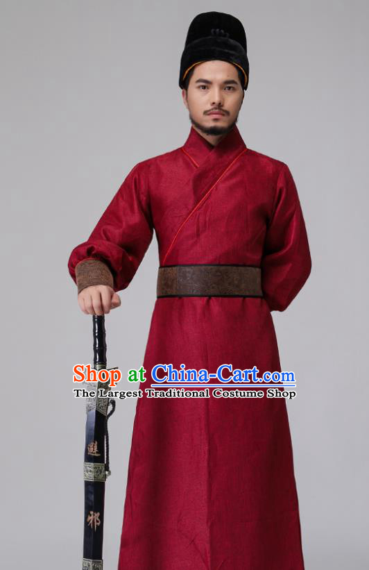 Chinese Traditional Ming Dynasty Blades Costumes Ancient Drama Swordsman Red Clothing for Men