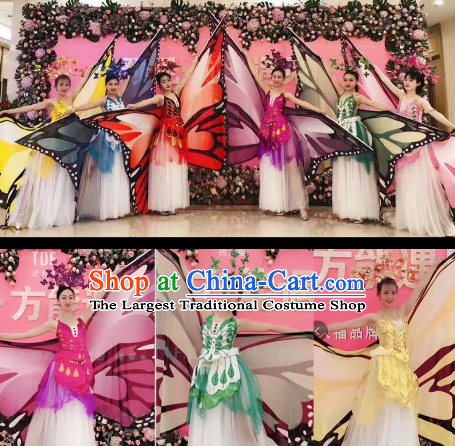 Beautiful Butterfly Dance Costumes Giant Wings Dancing Costume Wings