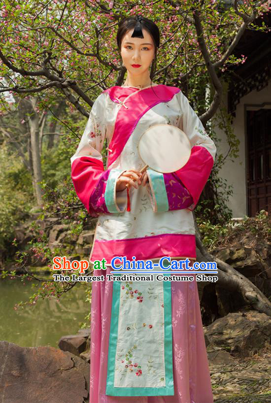 Chinese Ancient Drama Young Mistress Xiuhe Suits Traditional Qing Dynasty Manchu Lady Costumes for Women