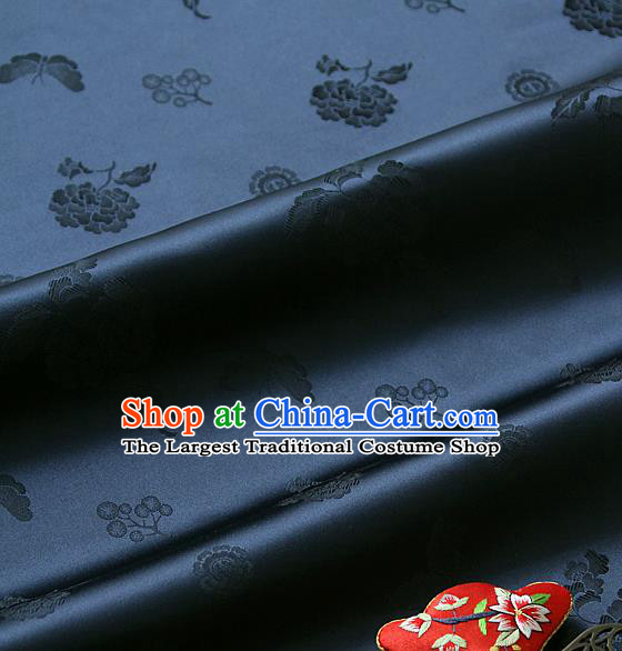 Traditional Asian Classical Peony Butterfly Pattern Navy Brocade Cloth Drapery Korean Hanbok Palace Satin Silk Fabric