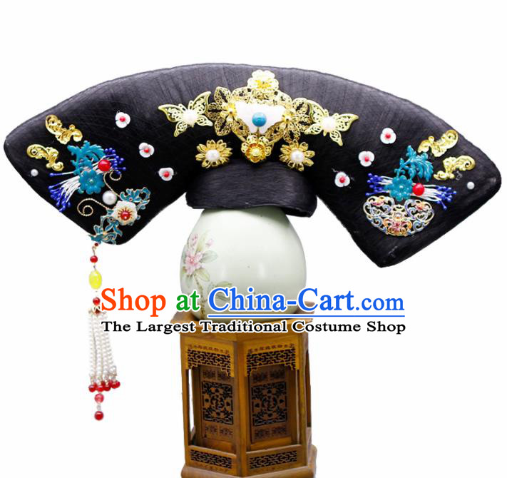 Chinese Traditional Qing Dynasty Hair Accessories Ancient Manchu Lady Wigs and Hairpins for Women