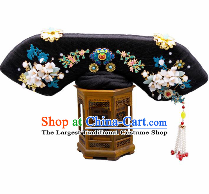 Chinese Traditional Qing Dynasty Hair Accessories Ancient Manchu Imperial Consort Wigs and Hairpins for Women
