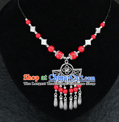 Chinese Traditional Jewelry Accessories Yunnan National Red Beads Tassel Necklace for Women