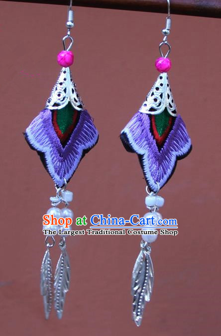 Chinese Traditional Embroidered Purple Earrings Yunnan National Tassel Eardrop for Women