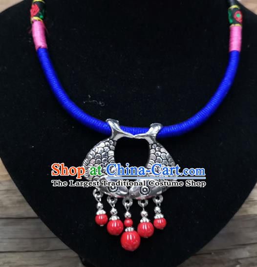 Chinese Traditional Jewelry Accessories Yunnan Minority Sliver Fishes Necklace for Women