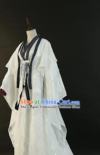 Chinese Traditional Ancient Nobility Childe Swordsman White Costumes for Men