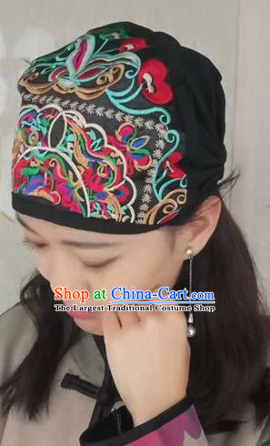 Chinese Traditional Embroidered Black Headscarf Yunnan Dai Minority Hat for Women