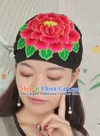 Chinese Traditional Embroidered Peony Headscarf Yunnan Dai Minority Hat for Women