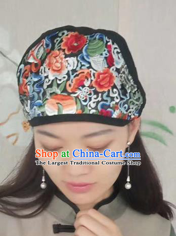 Chinese Traditional Embroidered Flowers Headscarf Yunnan Dai Minority Hat for Women