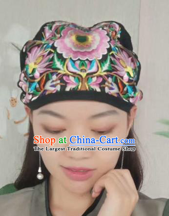 Chinese Traditional Embroidered Pink Peony Headscarf Yunnan Dai Minority Hat for Women