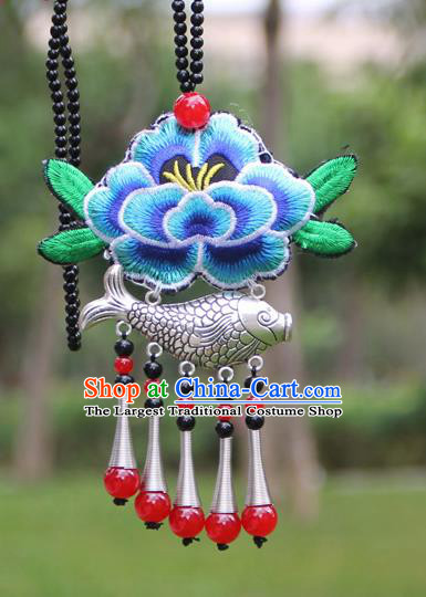 Chinese Traditional Accessories Yunnan Minority Embroidered Blue Peony Sliver Fish Necklace for Women