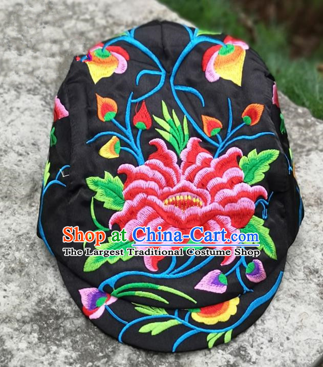 Chinese Traditional Embroidered Peony Yunnan Dai Minority Black Cap for Women