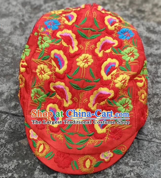 Chinese Traditional Embroidered Yunnan Dai Minority Red Cap for Women
