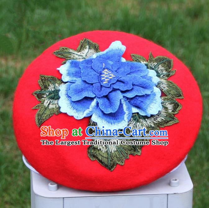Chinese Traditional Embroidered Peony Yunnan Dai Minority Red Top Hat for Women