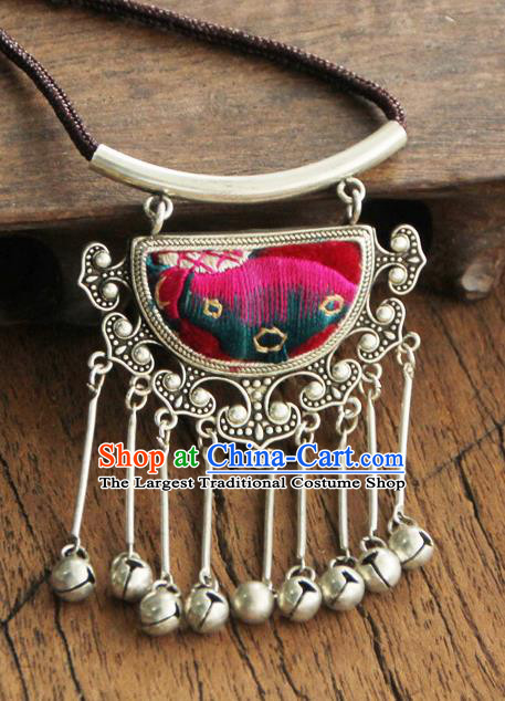 Chinese Traditional Yunnan Miao Minority Necklace Ethnic Bells Tassel Embroidered Accessories for Women