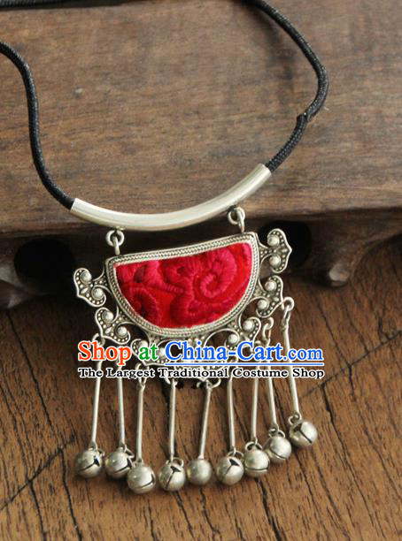 Chinese Traditional Yunnan Miao Minority Red Necklace Ethnic Bells Tassel Embroidered Accessories for Women