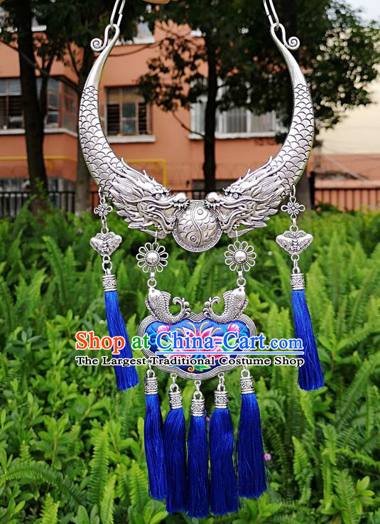 Chinese Traditional Minority Carving Dragons Embroidered Blue Necklace Ethnic Folk Dance Accessories for Women