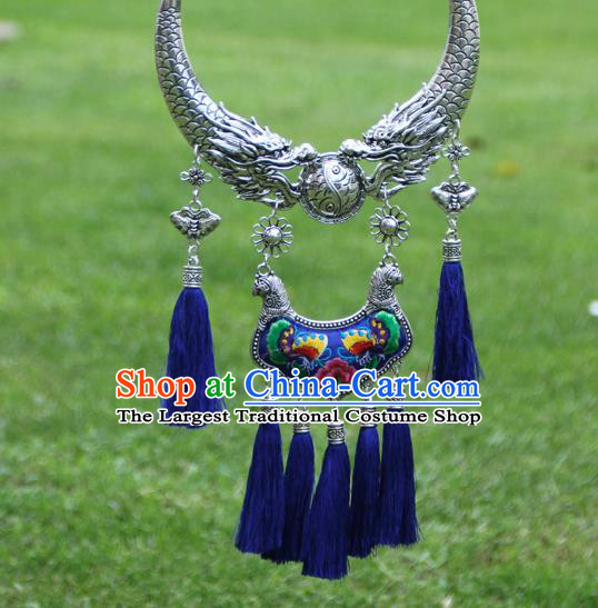 Chinese Traditional Minority Carving Dragons Embroidered Peony Blue Necklace Ethnic Folk Dance Accessories for Women