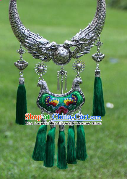 Chinese Traditional Minority Carving Dragons Embroidered Peony Green Necklace Ethnic Folk Dance Accessories for Women