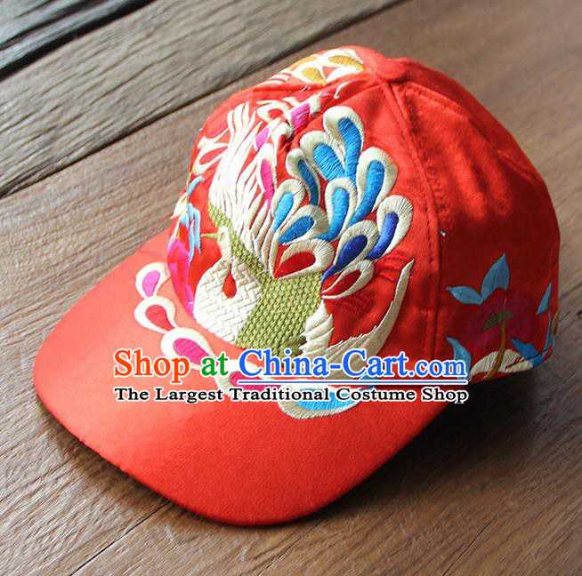 Chinese Traditional Embroidered Peacock Red Baseball Cap Yunnan Minority Hat for Women