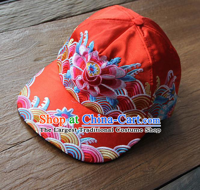 Chinese Traditional Embroidered Peony Red Baseball Cap Yunnan Minority Hat for Women