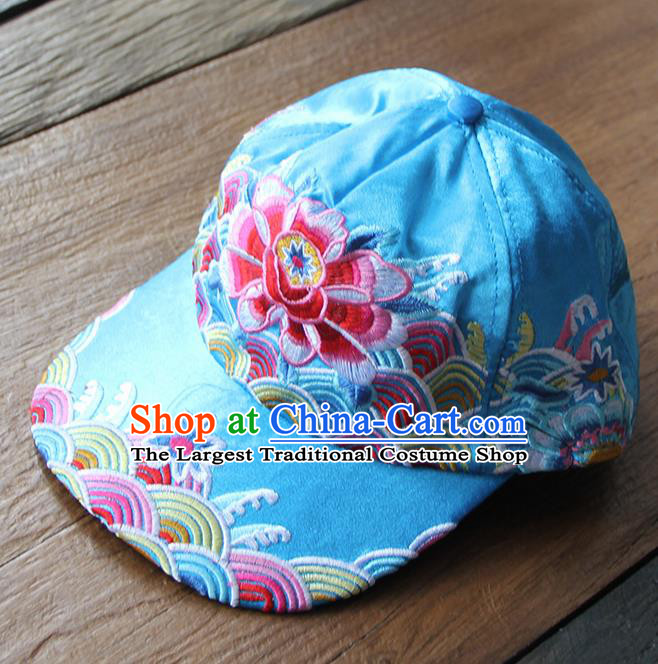 Chinese Traditional Embroidered Peony Blue Baseball Cap Yunnan Minority Hat for Women