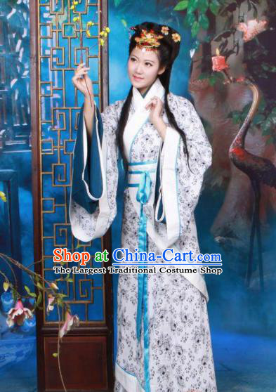 Chinese Traditional Han Dynasty Princess Curving Front Robe Ancient Peri Historical Costumes for Women