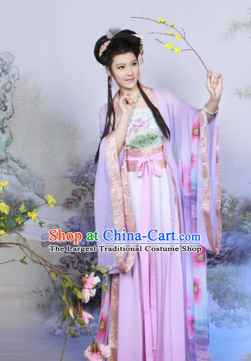 Chinese Ancient Peri Purple Hanfu Dress Tang Dynasty Geisha Embroidered Historical Costumes for Women