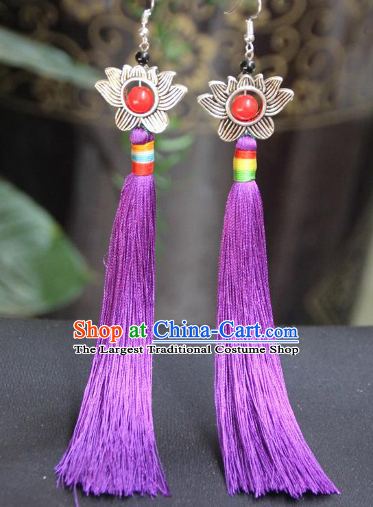 Chinese Traditional Ethnic Purple Tassel Lotus Earrings National Ear Accessories for Women