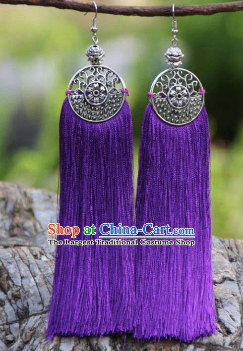 Chinese Traditional Ethnic Bride Earrings National Purple Tassel Ear Accessories for Women