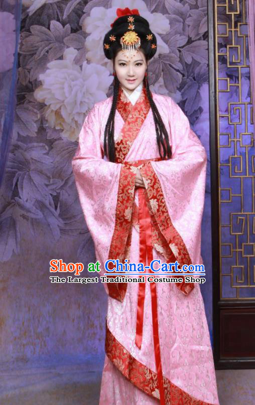 Chinese Ancient Imperial Consort Pink Hanfu Dress Han Dynasty Palace Lady Historical Costumes for Women