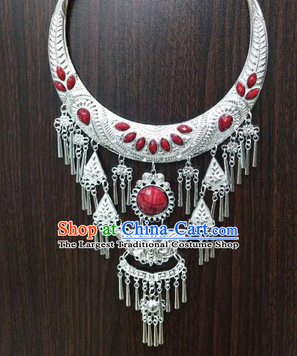 Chinese Traditional National Ethnic Red Necklace Tassel Necklet Jewelry Accessories for Women