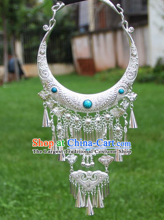 Chinese Traditional National Ethnic Butterfly Tassel Necklace Blue Necklet Jewelry Accessories for Women