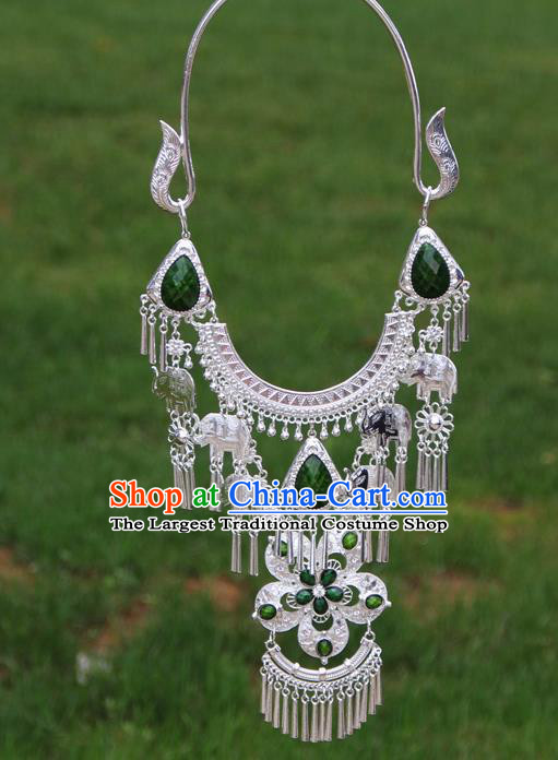 Chinese Traditional National Ethnic Flowers Tassel Green Necklace Jewelry Accessories for Women