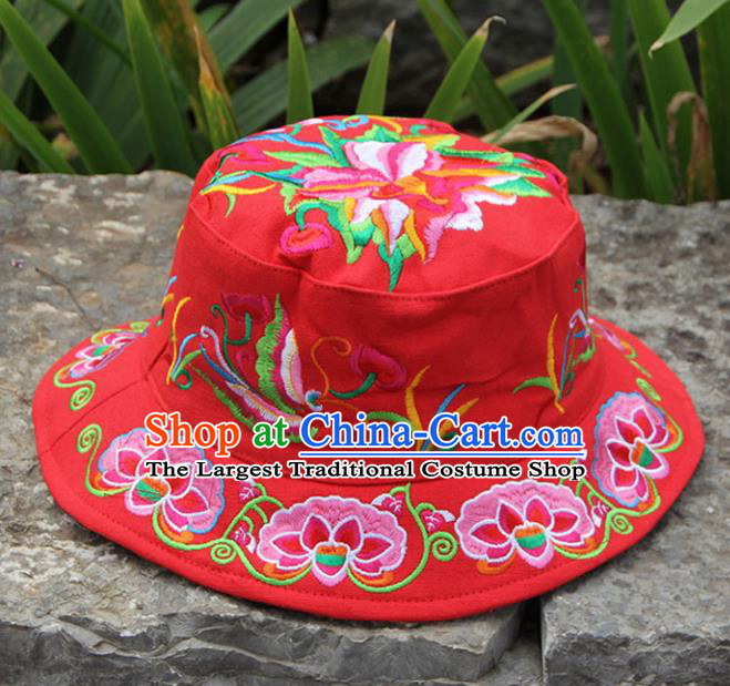 Chinese Traditional National Embroidered Peony Red Hat for Women