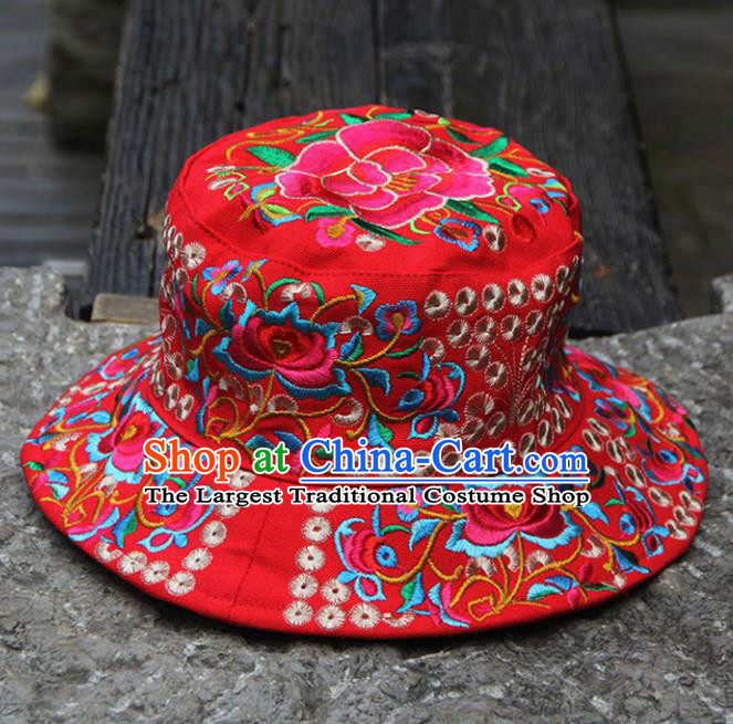 Chinese Traditional National Handmade Embroidered Peony Red Hat for Women