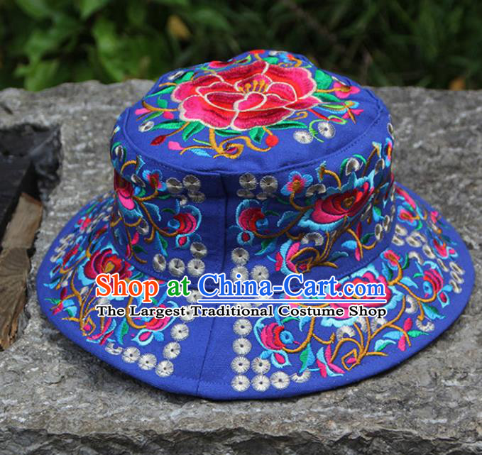 Chinese Traditional National Handmade Embroidered Peony Blue Hat for Women