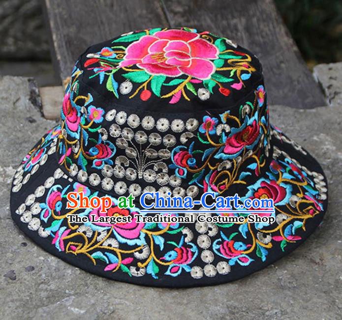 Chinese Traditional National Handmade Embroidered Peony Black Hat for Women