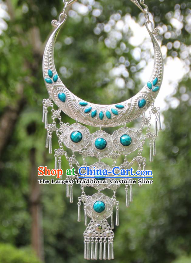 Chinese Traditional National Jewelry Accessories Ethnic Tassel Blue Necklace for Women