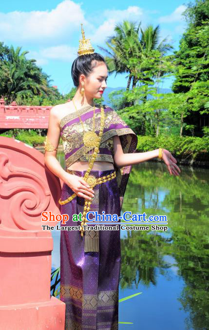 Asian Traditional Thailand Costumes National Handmade Embroidered Purple Dress for Women