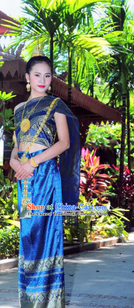 Asian Traditional Thailand Costumes National Handmade Embroidered Royalblue Dress for Women