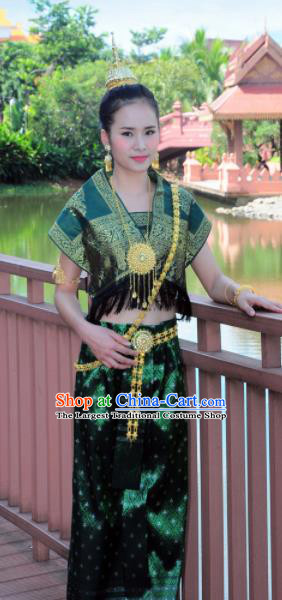 Asian Traditional Thailand Costumes National Handmade Embroidered Deep Green Dress for Women