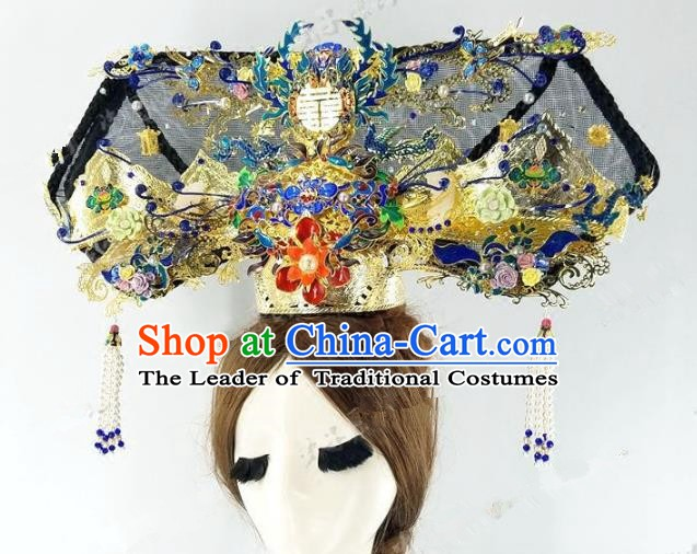 Chinese Handmade Classical Hairpins Hair Accessories Ancient Qing Dynasty Palace Lady Headwear Phoenix Coronet for Women