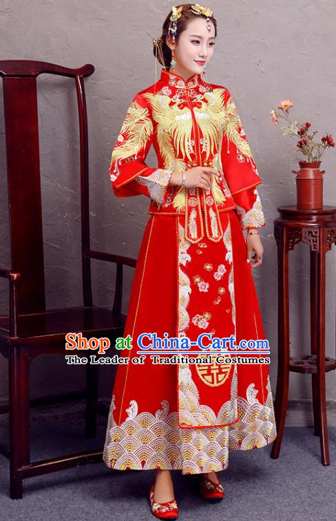 Traditional Chinese Wedding Costume Ancient Bride Embroidered Phoenix Red Rhinestone Xiuhe Suit Clothing for Women