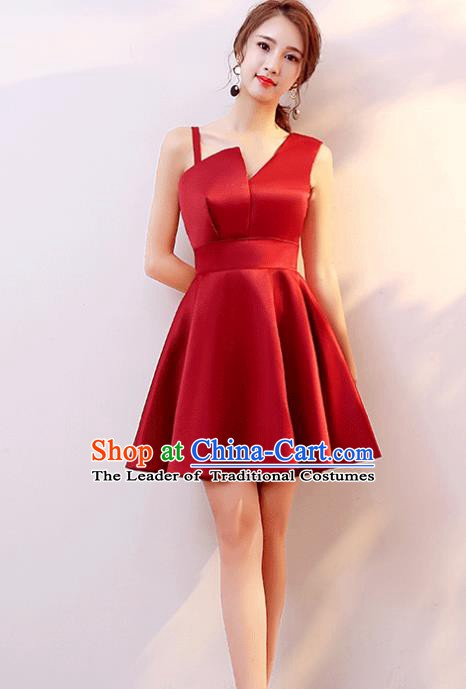 Professional Modern Dance Costume Chorus Group Clothing Bride Toast Wine Red Dress for Women