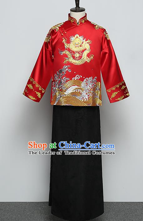 Ancient Chinese Style Wedding Dress Ancient Groom Toast Clothing Embroidered Mandarin Jacket for Men