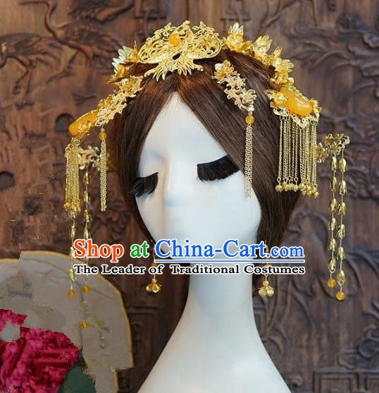 Chinese Handmade Classical Hairpins Hair Accessories Ancient Bride Xiuhe Suit Headwear Phoenix Coronet for Women
